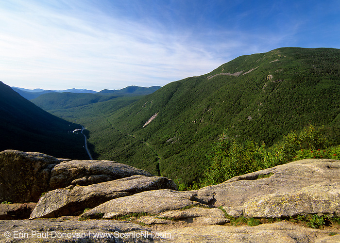 Crawford Notch from Mount Willard in the White Mountains, New Hampshire USA. Mount Willey is on right.
