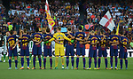FCB Team , silence minut before starting La Liga game between FC Barcelona v Betis at Camp Nou