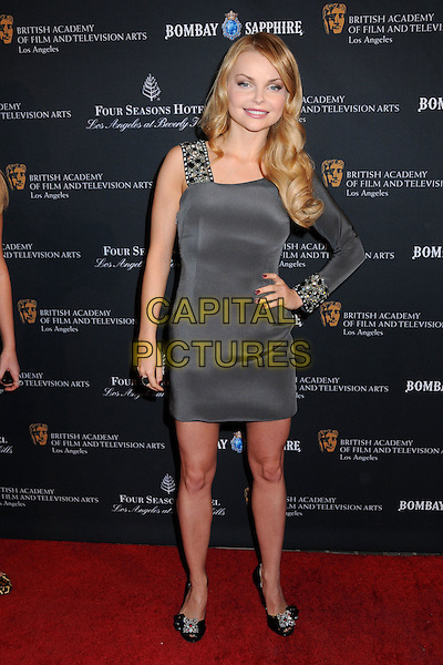 IZABELLA MIKO.17th Annual BAFTA Los Angeles Awards Season Tea Party held at the Four Seasons Hotel, Beverly Hills, California, USA, 15th January 2011..full length grey gray dress one sleeve  black shoes hand on hip .CAP/ADM/BP.©Byron Purvis/AdMedia/Capital Pictures.