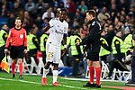 Vinicius Junior of Real Madrid have words with the referee during La Liga match between Real Madrid and Real Sociedad at Santiago Bernabeu Stadium in Madrid, Spain. February 06, 2020. (ALTERPHOTOS/A. Perez Meca)