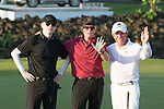 (L-R) Feng Xiaogang, Michael Douglas, Gary Player during the World Celebrity Pro-Am 2016 Mission Hills China Golf Tournament on 22 October 2016, in Haikou, China. Photo by Marcio Machado / Power Sport Images