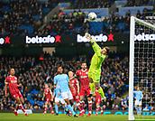 9th January 2018, Etihad Stadium, Manchester, England; Carabao Cup football, semi-final, 1st leg, Manchester City versus Bristol City; Frank Fielding of Bristol City makes a fine save from a Manchester City cross