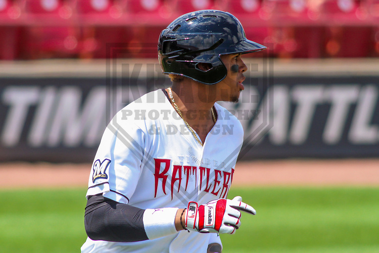 Wisconsin Timber Rattlers shortstop Gilbert Lara (11) during a Midwest League game against the Burlington Bees on July 10, 2017 at Fox Cities Stadium in Appleton, Wisconsin.  Burlington defeated Wisconsin 6-3. (Brad Krause/Krause Sports Photography)