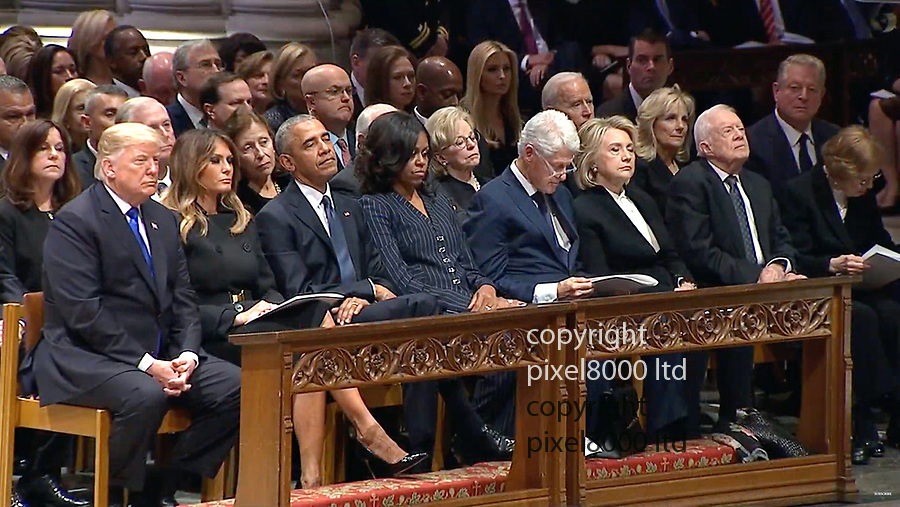 George Bush Funeral was<br /> attended by living Presidents of the USA<br /> President Trump<br /> with former Presidents Obama Clinton and Carter<br /> with First Ladies Melania  Michelle and Hillary<br /> <br /> Trumps and Clintons pointedly ignored each other.<br /> But Trumps shook hands with Obamas and George W Bush and his wife Barbara<br /> <br /> <br /> <br /> Picture by Pixel8000 07917221968