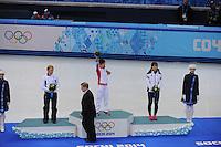 OLYMPICS: SOCHI: Iceberg Skating Palace, 13-02-2014, Shorttrack, 500m Relay Ladies, Podium, Arianna Fontana (ITA), Jianrou Li (CHN), Seung-Hi Park (KOR), ©photo Martin de Jong