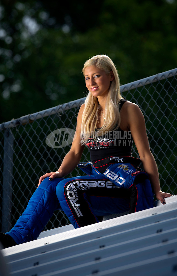 Jun. 20, 2011; Bristol, TN, USA: NHRA driver Leah Pruett-LeDuc poses for a portrait at Bristol Dragway. Mandatory Credit: Mark J. Rebilas-
