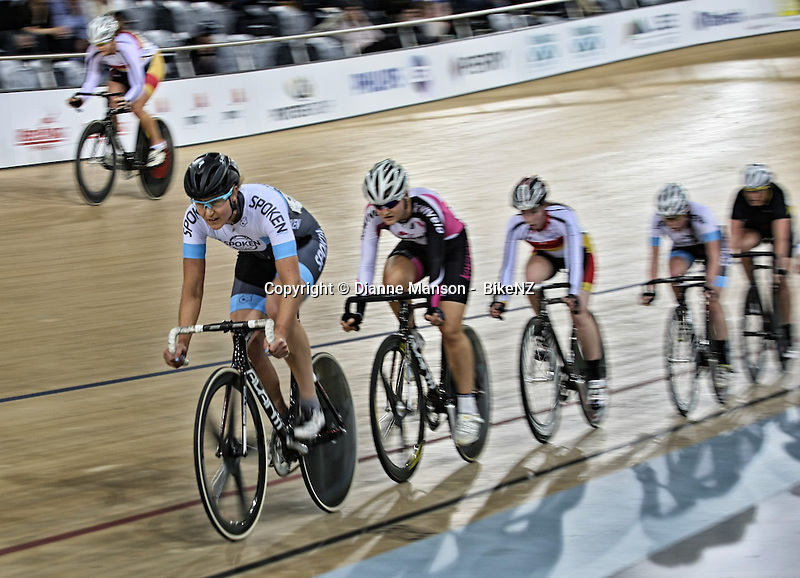 Jaime Nielsen in the WE points race at the Avanti BikeNZ Cup, Avantidrome, Cambridge, New Zealand, Saturday, September 20, 2014, Credit: Dianne Manson/BikeNZ