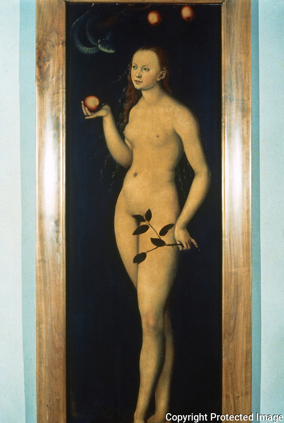 Paintings:  Luca Cranach--Eve.  Galleria Uffizi, Florence.  Reference only.