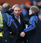 Kenny Shiels and Jimmy Nicoll commisserate with Rangers boss Ally McCoist at full time