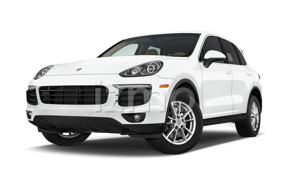 Stock pictures of low aggressive front three quarter view of a 2016 Porsche Cayenne Diesel 5 Door SUV Low Aggressive