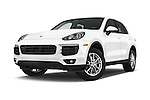 Stock pictures of low aggressive front three quarter view of a 2017 Porsche Cayenne Diesel 5 Door SUV Low Aggressive