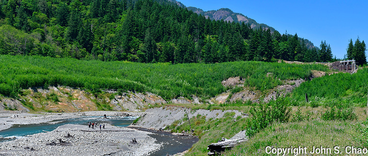 Fisheries scientists on gravel bar in Upper Elwha River (formerly Lake Mills), above Glines Canyon Dam artifact; panorama. Olympic National Park, Washington State