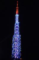 ATENCAO EDITOR: FOTO EMBARGADA PARA VEICULOS INTERNACIONAIS. SAO PAULO, SP, 12 DE DEZEMBRO DE 2012 - Torre da Bandeirantes, decorada para o Natal e vista na noite desta terca feira, regiao central. FOTO: ALEXANDRE MOREIRA - BRAZIL PHOTO PRESS.