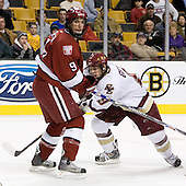Jimmy Fraser (Harvard University - Port Huron, MI) and Nathan Gerbe (Boston College - Oxford, MI) battle in front of the Harvard goal. The Boston College Eagles defeated the Harvard University Crimson 3-1 in the first round of the 2007 Beanpot Tournament on Monday, February 5, 2007, at the TD Banknorth Garden in Boston, Massachusetts.  The first Beanpot Tournament was played in December 1952 with the scheduling moved to the first two Mondays of February in its sixth year.  The tournament is played between Boston College, Boston University, Harvard University and Northeastern University with the first round matchups alternating each year.