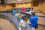 Students (l to r) MJ Triplett, Courtney Foote, Jose Salinas, Lindsey Tunnell and Ethan Reynolds work on a group project for one of their classes at the Tupelo campus.  Photo by Kevin Bain/Ole Miss Communications