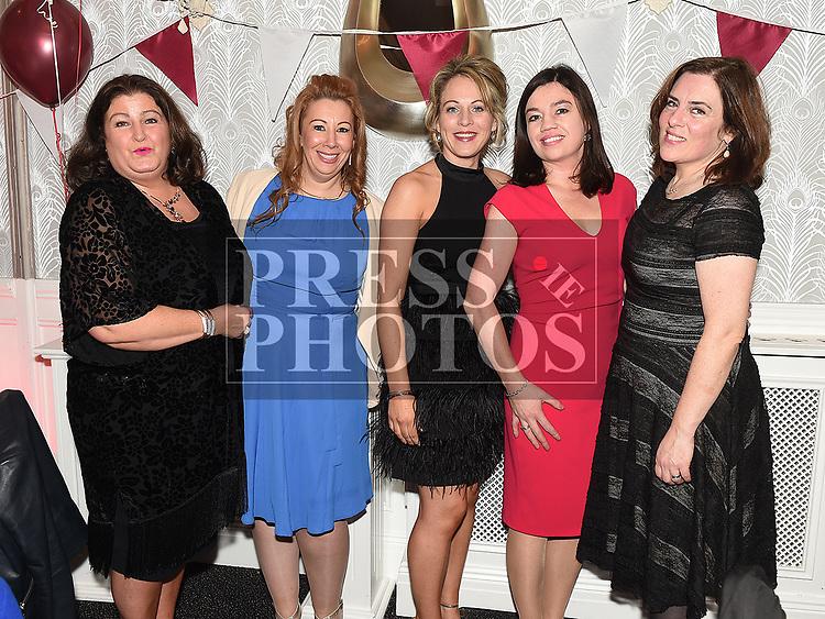 Winnie Freeman, Jane Kelly, Tara Shaw, Emer Sullivanand Niamh Vanio Mattila at the Oliver Plunketts 75th anniversary dinner in the Westcourt hotel. Photo:Colin Bell/pressphotos.ie