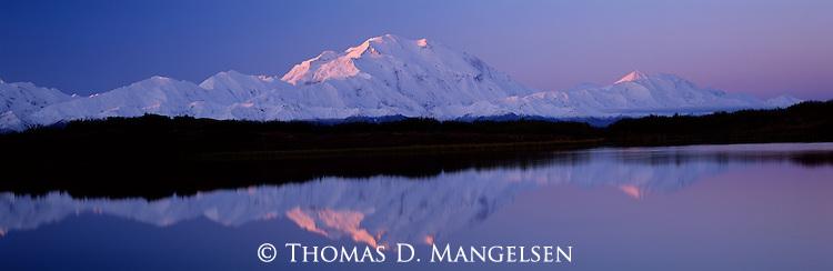 First light on Mount McKinley in Denali National Park, Alaska.