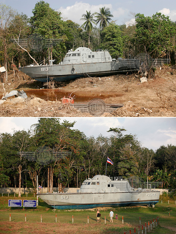 Khao Lak, north of Phuket, Thailand, was severley hit by the Tsunami that struck Asia 26.12.2004. Police boat 813 was taken about 3km inland and stopped on the edge of a forest. Thousands died when the waves hit without warning. The police boat is now a memorial..©Fredrik Naumann/Felix Features