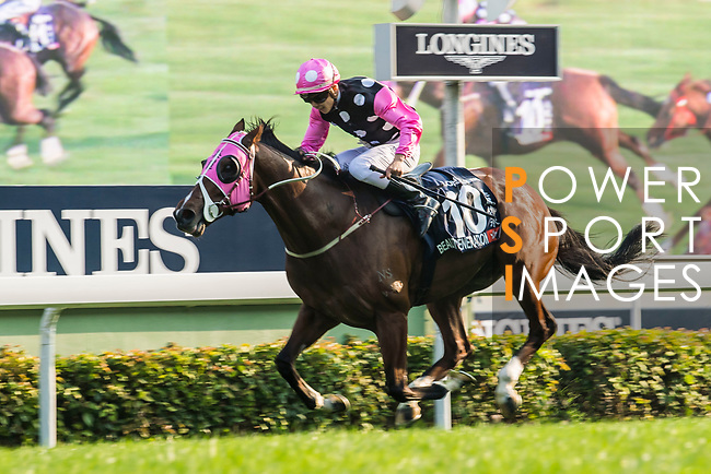 Jockey Derek K C Leung riding Beauty Generation wins the Longines Hong Kong Mile (G1, 1600m) during the Longines Hong Kong International Races at Sha Tin Racecourse on December 10 2017, in Hong Kong, Hong Kong. Photo by Victor Fraile / Power Sport Images