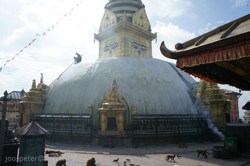 stupa of buddhist temple Swayambhu in Kathmandu, Nepal, September 2011