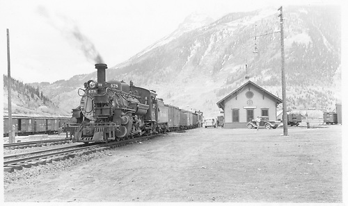 D&amp;RGW #478 arriving at Silverton with five freight cars, a coach and caboose.<br /> D&amp;RGW  Silverton, CO  Taken by Treptow, Russell F.