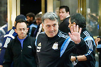 "Argentina soccer coach Gerardo Daniel ""Tata"" Martino greets to fans while he arrives to the hotel to attend the friendly match between Argentina and Ecuador in New Jersey. 03.30.2015. Eduardo MunozAlvarez / VIEWpress."