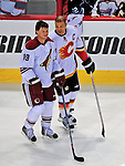 24 January 2009: Phoenix Coyotes right wing forward Shane Doan and Calgary Flames right wing forward Jarome Iginla, both Team Captains, chat prior to the NHL SuperSkills Competition, part of the All-Star Weekend at the Bell Centre in Montreal, Quebec, Canada. ***** Editorial Sales Only ***** Mandatory Photo Credit: Ed Wolfstein Photo