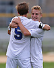 Andrew Lule #5 of Glenn, left, gets congratulated by Chris Spalding #2 after he scored his second goal of the match in the first half of Suffolk County League VI varsity boys soccer game against Southampton at Glenn High School on Friday, Sept. 9, 2016. Lule scored three goals to lead Glenn to a 6-3 win.