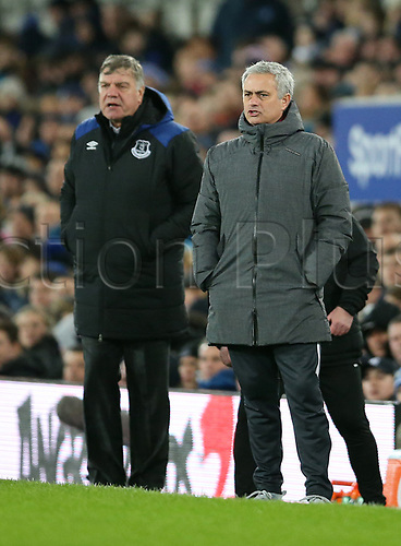 1st January 2018, Goodison Park, Liverpool, England; EPL Premier League Football, Everton versus Manchester United; Sam Allardyce, manager of Everton and Jose Mourinho, manager of Manchester United look on from the technical area during the second half
