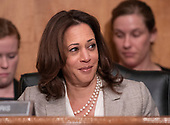"""United States Senator Kamala Harris (Democrat of California) listens to testimony before the United States Senate Committee on Homeland Security & Governmental Affairs during a hearing entitled """"Examining CMS's Efforts to Fight Medicaid Fraud and Overpayments"""" on Capitol Hill in Washington, DC on Tuesday, August 21, 2018.<br /> Credit: Ron Sachs / CNP"""