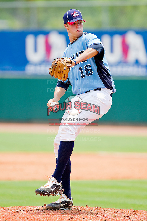 Tucker Simpson #16 of Dixie in action against PONY at the 2011 Tournament of Stars at the USA Baseball National Training Center on June 26, 2011 in Cary, North Carolina.  PONY defeated Dixie 4-3. (Brian Westerholt/Four Seam Images)