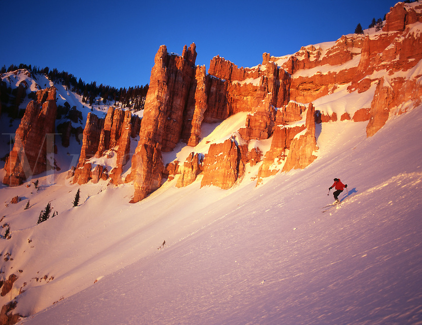 Skier Steve Williams enjoys Alpenglow, Cedar Breaks National Monument, Utah. (MR)