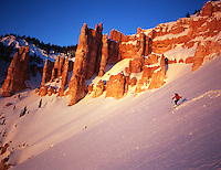 Skier Steve Williams enjoys Alpenglow, Cedar Breaks National Monument, Utah. (MR)