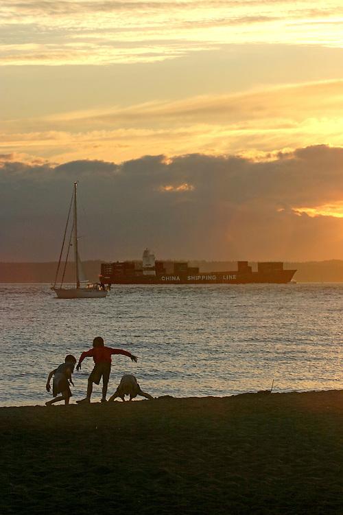 Seattle, Kids, Beach, Puget Sound, Golden Gardens Park, container ship, Pacific Northwest, summer,