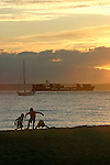 Seattle, Kids, Beach, Puget Sound, Golden Gardens Park, container ship, Pacific Northwest, summer,