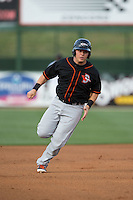 Alex Murphy (32) of the Delmarva Shorebirds hustles towards third base against the Kannapolis Intimidators at Kannapolis Intimidators Stadium on April 21, 2016 in Kannapolis, North Carolina.  The Intimidators defeated the Shorebirds 9-3.  (Brian Westerholt/Four Seam Images)