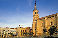 Spain. Castile la Mancha.  Valdepenas.  Church of the Assumption and main square of main town in wine producing region..