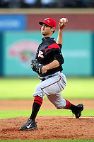 Tyler Beede (18) of the Richmond Flying Squirrels delivers a pitch during a game versus the New Hampshire Fisher Cats at Northeast Delta Dental Stadium in Manchester, New Hampshire on June 5, 2015.  (Ken Babbitt/Four Seam Images)