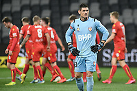 30th July 2020; Bankwest Stadium, Parramatta, New South Wales, Australia; A League Football, Adelaide United versus Perth Glory; Goalie Liam Reddy of Perth Glory looks frustrated  after Adelaide take a 2-0 lead through a Michael Jakobsen header in 27th minute