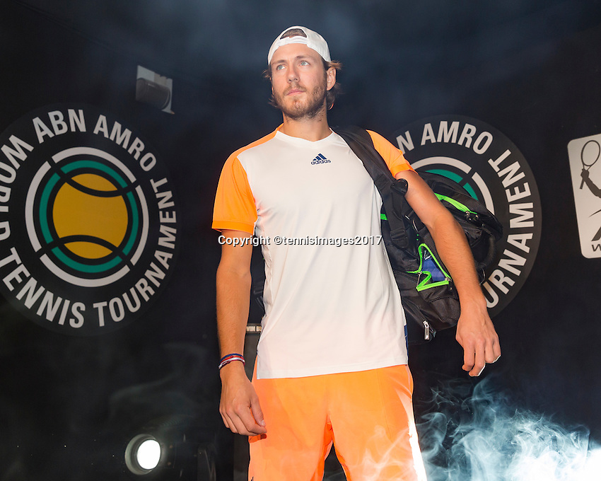ABN AMRO World Tennis Tournament, Rotterdam, The Netherlands, 14 februari, 2017, Lucas Pouille (FRA)<br /> Photo: Henk Koster