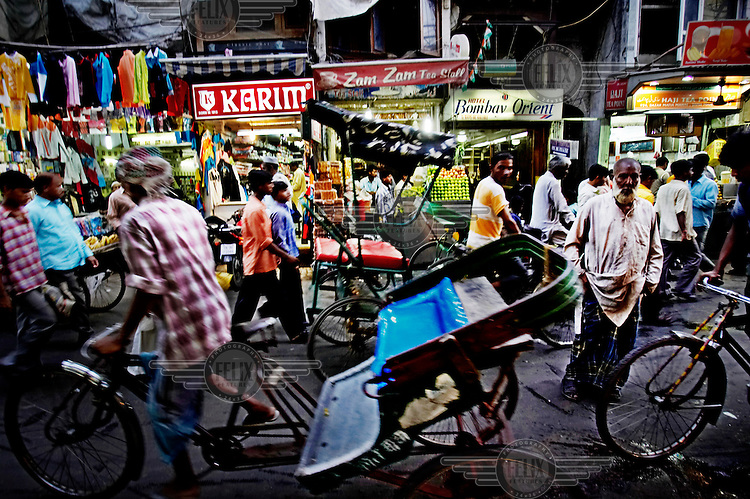 Bicycle rickshaws in the crowded lanes of New Delhi's old city.