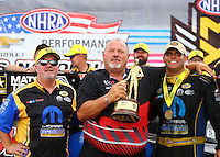 Sep 5, 2016; Clermont, IN, USA; NHRA funny car driver Matt Hagan celebrates with his crew after winning the US Nationals at Lucas Oil Raceway. Mandatory Credit: Mark J. Rebilas-USA TODAY Sports