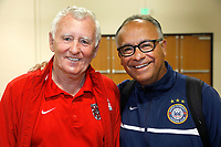 Oceanside, CA-Wednesday, June 19, 2019: US Soccer Coaches Ed Event at QLN conference center.  Derek Armstrong, left and Rudy Ybarra gather for a photo before the event.