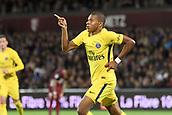 September 8th 2017, Stade Saint-Symphorien, Metz, France; French League 1 football, Metz versus Paris St Germain; KYLIAN MBAPPE (psg) shcelebrates as he scores past Miguel CAFU (metz)
