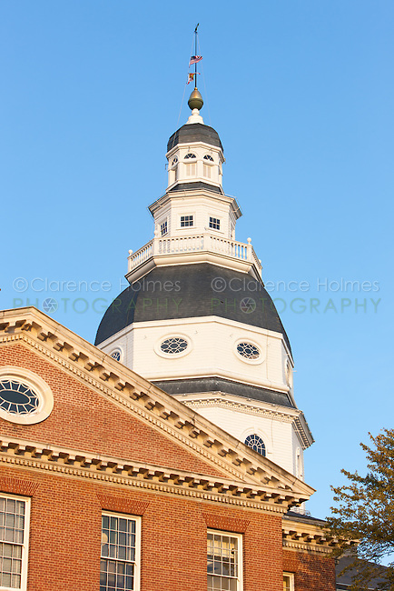 The dome of the historic Maryland State House in Annapolis, Maryland.