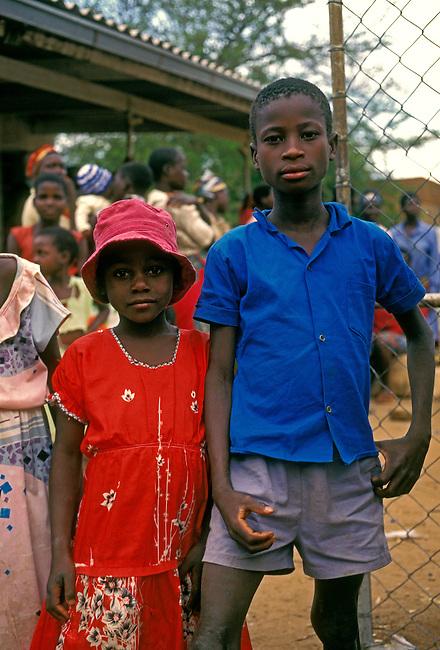 Boy and girl, village of Mahenye, Manicaland Province, Zimbabwe, Africa