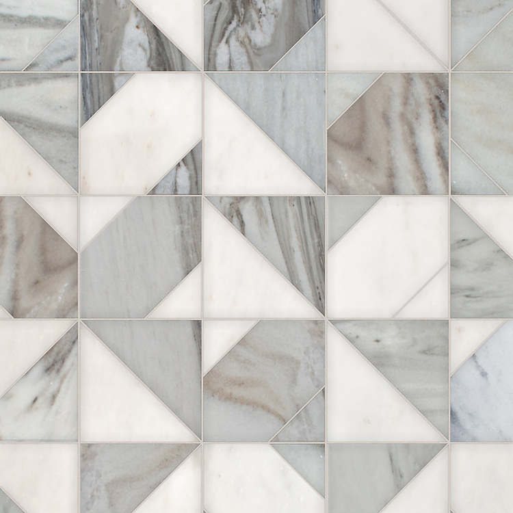 Axel, a hand-cut stone mosaic, shown in polished Afyon White and honed Angora, is part of the Semplice® collection for New Ravenna.