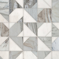 Axel, a hand-cut stone mosaic, shown in polished Afyon White and honed Angora, is part of the Semplice™ collection for New Ravenna.
