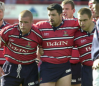 Photo Peter Spurrier.12/10/2002.Heineken European Cup Rugby.Gloucester vs Munster - Kingsholm.Gloucester front row.left to right Phil Vickery,  Olivier Azam and Trevor Woodman.