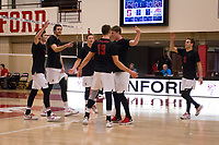 STANFORD, CA - January 2, 2018: JP Reilly, Kevin Rakestraw, Jacob Thoenen, Eli Wopat, Eric Beatty, Russell Dervay at Burnham Pavilion. The Stanford Cardinal defeated the Calgary Dinos 3-1.